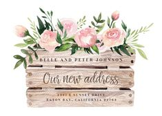 Flower And Planters - Moving Announcement #announcements #printable #diy #template #Moving #newaddress #newhome New Home Cards, House Of Cards, Pattern Block Templates, Templates Free, Moving Announcements, Postcard Template, Moving House, Certificate Templates, Printable Cards