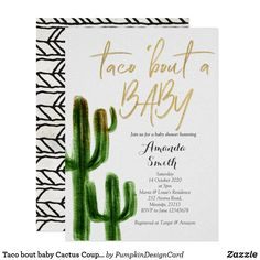 Taco bout baby Cactus Couples Shower Invite card Taco about love Invitation, Couples Wedding Shower Fiesta Party. Mexican theme invitation perfect for couples shower, bridal shower, birthday party etc. Couples Shower Invitations, Graduation Party Invitations, Baby Shower Themes, Baby Boy Shower, Shower Ideas, Diaper Shower, Baby Shower Crafts, Couple Goals, Bebe Shower