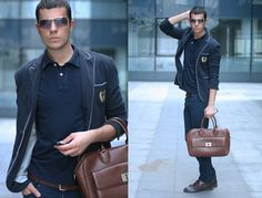 Bata Gold Sunglasses, Tommy Hilfiger Polo Shirt, Zara Navy Blazer, Zara Navy Pants, Zara Leather Bag