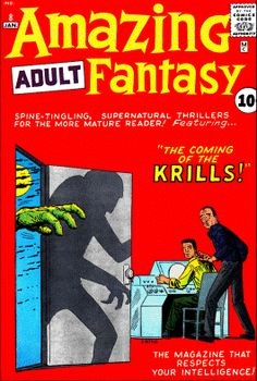 Amazing Adult Fantasy The Coming of the Krills. Cover by Steve Ditko. Sci Fi Comics, Fantasy Comics, Horror Comics, Horror Art, Comic Book Artists, Comic Artist, Comic Books Art, Vintage Comic Books, Vintage Comics