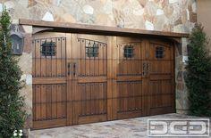Spanish Style Wooden Gates | Dynamic Garage Door | Custom Architectural Garage Door : Tuscan ... Custom Garage Doors, Carriage Garage Doors, Garage Door Hardware, Wooden Garage Doors, Wooden Gates, Barn Garage, Carriage House, Garage Door Colors, Garage Door Styles