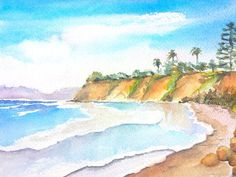 Butterfly Beach Santa Barbara watercolor painting by Carlin Blahnik.   Butterfly Beach is in a beautiful bay located near Santa Barbara, California in the area of Montecito. This scenic coast offers sand, sky, ocean, trees, distant hills and rock formations. A calm surf in a paradise seascape setting. http://www.carlinart.com/