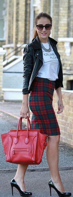Leather jacket, white T-shirt, statement necklace, tartan pencil skirt, red Celine bag, black heels...love!!