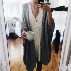 christiescloset: so i don't really know what i'm doing today yet but here's the cozy outfit: urban lace dress + aritzia cardigan ☺️