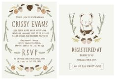 Baby Shower Invitation and Registry Card - Woodland Baby Bear.  Baby Boy.. $65.00, via Etsy.