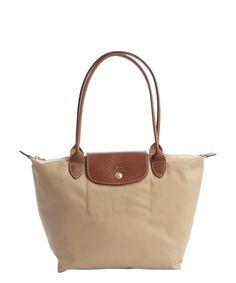 Longchamp brown nylon 'Le Pliage' small shopper tote