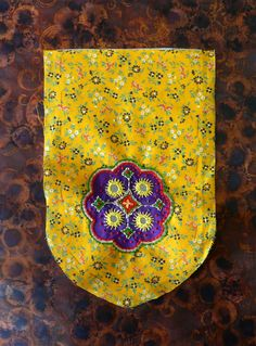 Drapes for Half-Tester.  Embroidered piece with shisha embroidery. Yellow and purple piece.