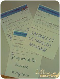 Titre du livre - 3 niveaux - Ecriture Maternelle Jacques et le haricot magique