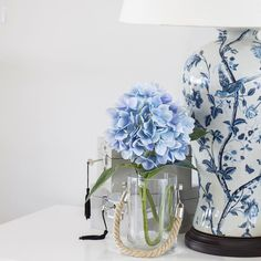 Lovely lamp base. Even more perfect when paired with a blue hydrangea stem