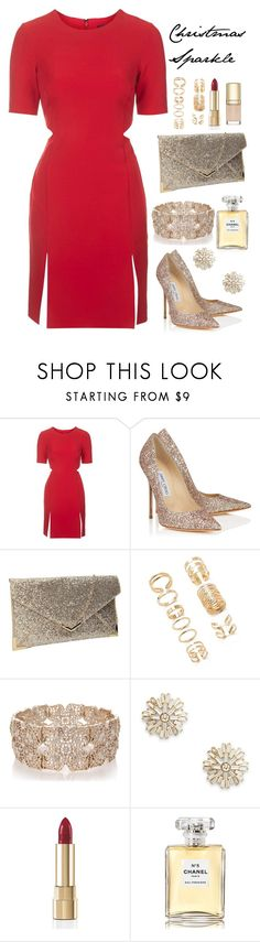 """""""Christmas Sparkle"""" by samang ❤ liked on Polyvore featuring Topshop, Jimmy Choo, Forever 21, Oasis, Sole Society, Dolce&Gabbana, Chanel and Christmas"""