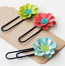 cute bookmark made from just painted black paper clip and take a tutorial video on youtube on how to make a paper/duct tape flower:)