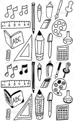 Hand Drawn Back to School Doodle Set Vector illustration…. Hand Drawn Back to School Doodle Set Vector illustration. Simple Doodles, Cute Doodles, Bullet Journal Ideas Pages, Bullet Journal Inspiration, Back To School Bullet Journal, Doodle Inspiration, School Doodle, Tattoo Papier, Doodle Art Drawing