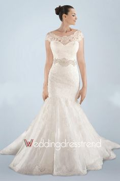 Vintage Beaded Draped Sweep Mermaid Lace Wedding Dress
