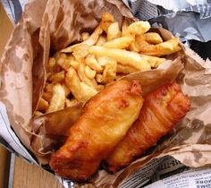 English Fish and Chips. The key to this dish is the proper batter, frying in clean oil and the proper chips (fries).