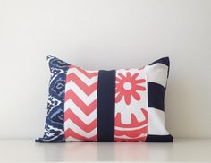 Patchwork Pillow Cover Modern Nautical by BlackcatmeowDesigns
