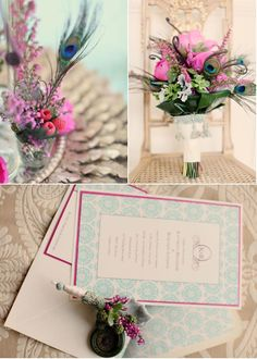 peonies & peacock feathers