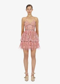 Cut from floral embellishment this style is fitted through the bodice and falls to a full mini skirt. The dress suspends from thin straps and is detailed with tonal lace trims. All Fashion, Pink Fashion, Colorful Fashion, Fashion Styles, Short Dresses, Girls Dresses, Mini Dresses, Badass Style, Lace Embroidery
