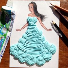 Creative Art / Funny Art ideas : Edgar Artis is an Armenian illustrator who uses a fascinating mix of paper cut outs and pencil drawings using everyday objects. Moda 3d, Arte Fashion, 3d Fashion, Dress Fashion, High Fashion, Deco Originale, Illustration Mode, Funny Drawings, Pencil Drawings