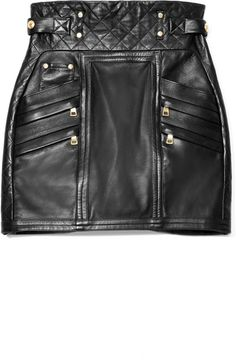 Balmain Quilted Leather Mini Skirt in Black  #fashion #style