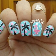 Instagram media by dianaspolish - Day 3 of #Glamnailschallenge FLAMINGOS Dotticure + Palms + Flamingo = Perfect I'm pretty happy with this mani, it's my first time painting flamingos and I love how this turned out what do you guys think? #flamingonails