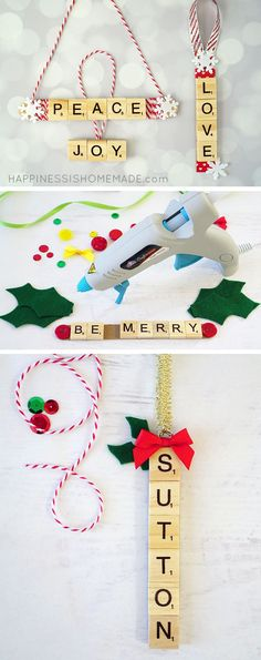 These Scrabble Tile Christmas Ornaments are a quick and easy holiday craft, and they make a great DIY homemade Christmas gift idea, too! Great for friends, family, teachers, neighbors, and more!
