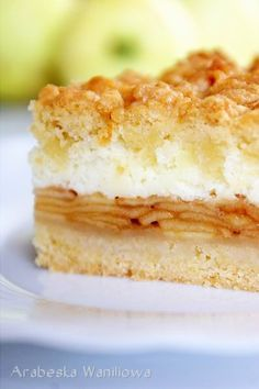 Apple pie with foam pudding - recipe Polish Desserts, Polish Recipes, Pudding Recipes, Cake Recipes, Low Calorie Smoothies, A Food, Food And Drink, Tasty, Yummy Food