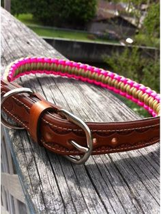 Leather and Paracord adjustable dog collar by CJWOODCRAFTS on Etsy, $15.00