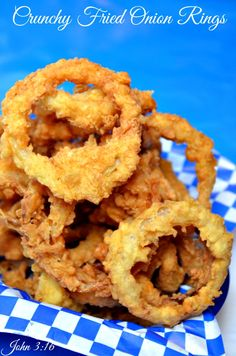 I finally figured out how to get super Crunchy Fried Onion Rings. What is the secret to making Crunchy Fried Onion Rings? The secret is... baking powder. The baking powder helps to add a crunch that someone else can hear from across the room when you bite into one of these Crunchy Fried Onion R