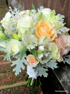 https://flic.kr/p/g2p4zZ | Wedding bouquet for wedding at Chiddingstone Castle | Wedding bouquet of garden, quicksand and peach avalanche roses for a wedding at Chiddingstone Castle by The Flowersmiths, wedding florist in Kent