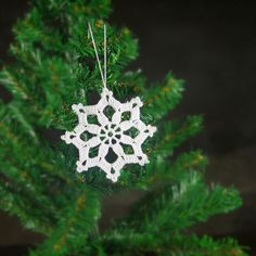 of 12 Crochet Snowflake White Christmas Hanging decorations Christmas ornaments