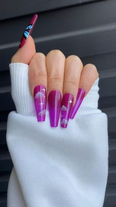 Acrylic Nail Designs Glitter, Blue Acrylic Nails, Acrylic Nails Coffin Short, Purple Nails, Coffin Nails, Drip Nails, Gel Nails, Dragon Nails, Anime Nails