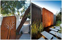 déco jardin brise-vue en acier corten  pas japonais et beau luminaire