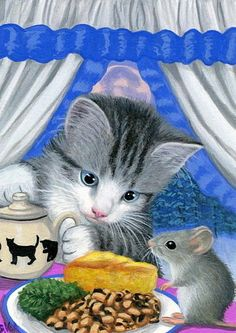 Kitten cat mouse New Year good luck meal beans cornbread original aceo painting #Miniature