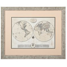Whitewashed Map Framed Art Print ($20) ❤ liked on Polyvore featuring home, home decor, wall art, map wall art, map home decor and framed wall art