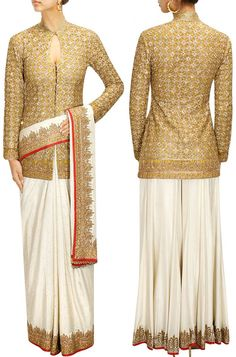 Go Different By Pairing This Designer Jacket Style Blouse With Your Saree Or Sharara. Saree Jacket Designs, Sari Blouse Designs, Saree Blouse Patterns, Designer Blouse Patterns, Saree Styles, Blouse Styles, Indian Dresses, Indian Outfits, India Fashion