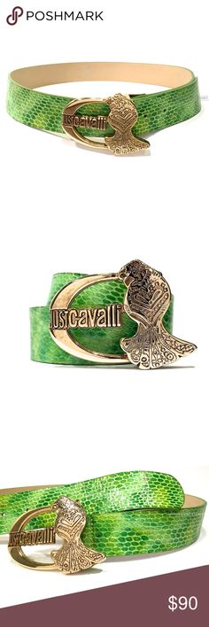 """Just Cavalli ROBERTO CAVALLI Green Genuine Leather 246. Just Cavalli ROBERTO CAVALLI Green Genuine Leather Reptile Style Belt. AUTHENTICATION: Hologram Tag and """"N05FMM. Green (light to dark shading) reptile print. Gold peacock """"JUST CAVALLI"""" logo. Inner light beige material. Adjustable five loop with invisible slits. Measurements: Length-~,"""" Width-~1.5,"""" Thickness-~2cm. Size: Size 85, US Size Med. Gentle Use. Noticeable brown spotting around buckle, fourth loop and tip. However, EXCELLENT…"""