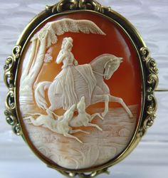 Huge Rare Scenic Victorian Cameo of a Lady Chasing on Horse with Two Hunting Dogs circa 1840's