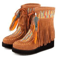 Indian Style Retro Fringe Boots