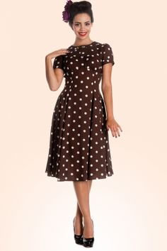Bunny - 40s Madden Dress in Brown with White Polka