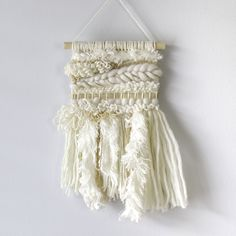 cream and gold weaving | fluffy woven wall hanging