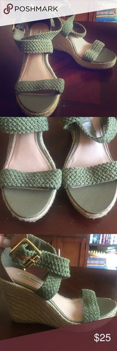 Army green espadrille wedges. Stand above the crowd in these five inch wedges! Summer ready espadrille bottoms. Faux cognac leather at the back of the ankle. Army green rope braiding. Worn under a handful of times. Steve Madden Shoes Wedges