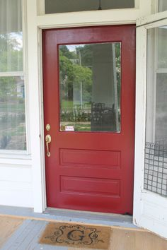 After going back and forth about whether I wanted to paint the front door black or white, I decided to go in the opposite direction and paint it RED!