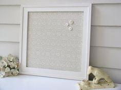 Magnet Board Bulletin Board - Framed Magnetic Memo Board in Soft Taupe Damask Designer Cotton Fabric - Handmade Wood Frame - Message Board on Etsy, $89.00