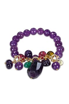 Amethyst & Multicolor Quartz Bead Stretch Bracelet.