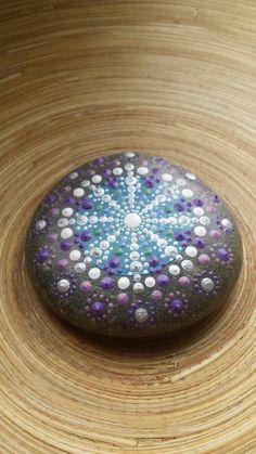 Mandala Stone Jewel Drop OM Symbol in Fall Colours by ArtsOfAnanda Painted Rocks, Hand Painted, Om Symbol, Beach Stones, Stone Painting, Purple, Blue, Mandala, My Etsy Shop