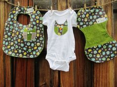 Baby Boy Onesie Bib Burp Cloth Set Appliqued Owl Onesie by LuBeans, $35.00
