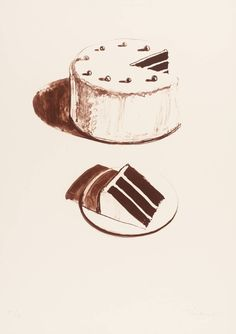 "Wayne Thiebaud - Chocolate Cake. This is so ""lickable"" that it belongs in food but since I can't eat it..."