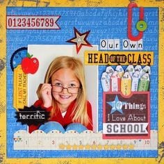 Single Photo BAck to School Scrapbook Layout 2 School Scrapbook Layouts, 12x12 Scrapbook, Scrapbook Sketches, Scrapbook Supplies, Scrapbooking Layouts, Scrapbook Photos, Scrapbook Storage, Scrapbook Organization, Graduation Scrapbook