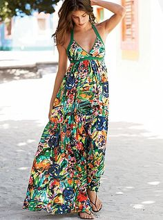 So vibrant! And the halter neckline would be flattering. I'd have to see it on myself to be sure, but this looks like it already belongs in my closet.  Halter maxi dress