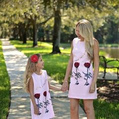 """Ok! Here's a Deal you should grab if it's your Size! $75 ONLY for 2pcs already JUST for 1 LUCKY #MotherandDaughter ONLY. Putting this #MommyAndMe matching Shift Dresses on SUPER SALE #Clearance Mom dress has label that say """"L"""" but NO WAY it's a true large. It fits US 4-6 with a bra size 34B/C or 36 A/B and a usual Small-Medium or else it hugs the waist and hips. So from Regular Price of $55, it's ON SALE for $45 while kid version is ON #BARGAIN fits 6yo more or less (can fit a 5yo chubby and…"""